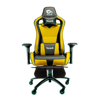 Silla gaming Talius Caiman Negro/Amarillo, reposapies, 4D, Frog, base metal, ruedas 75mm