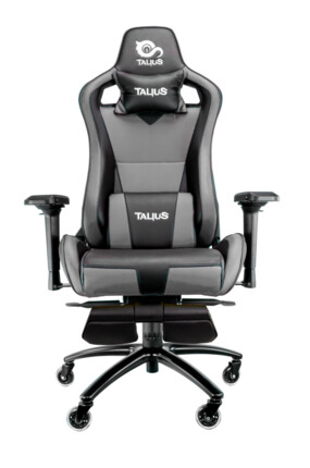 Silla gaming Talius Caiman Negro/Gris, reposapies, 4D, Frog, base metal, ruedas 75mm